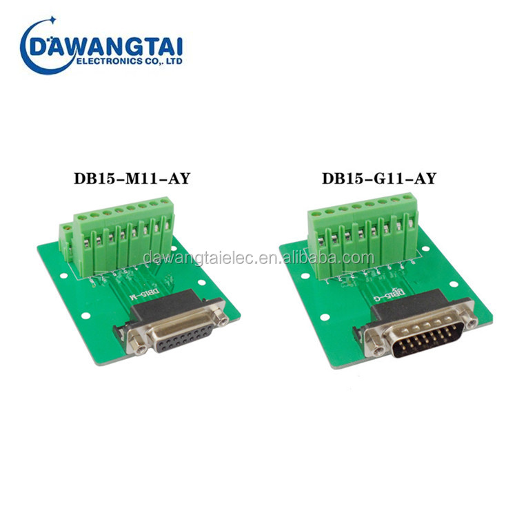 Male / Female Header Bent Head DB15 Breakout Board DB15-M11-G11 Terminal Block