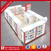 Modern shopping mall mobile phone wooden store display kiosk