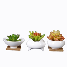 white glazed cupcake shaped succulent plant ceramic&porcelain vase with bamboo saucer