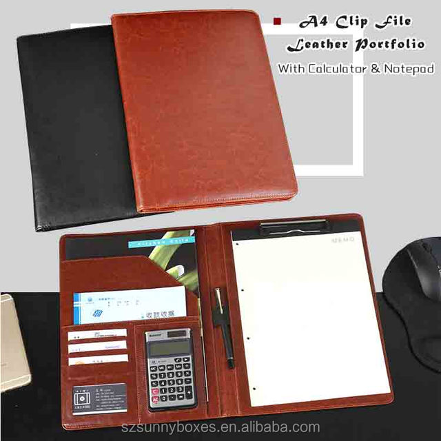 A4 Functional Leather Clip File Folder Portfolio Case With Calculator & Notepad