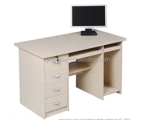 Cheap wood Modern office MDF computer desk with locking drawer