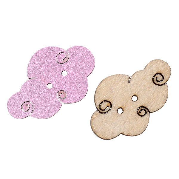 Wood Sewing Button Scrapbooking Cloud Pastel Violet Two Holes 3.0cm x 19.0mm