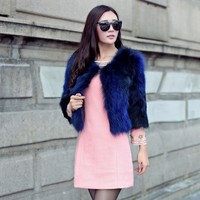 2016 Online Shopping Ladies' Ture Blue Mink Fur Coats