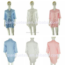 Various colors 3/4 sleeve Sexy Women silky satin Nightshirt