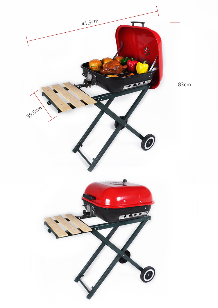 folding stand legs simple charcoal barbecue grills high quality Trolley foldable hamburger bbq grill for sale in foshan china