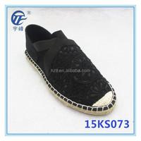 Lady Flat lace Black Espadrilles shoe