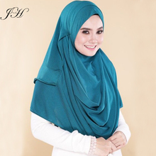 Hot Selling Two Face Instant Shawl Solid Color Double Loop Slip On One Piece Jersey Instant Hijab Scarves