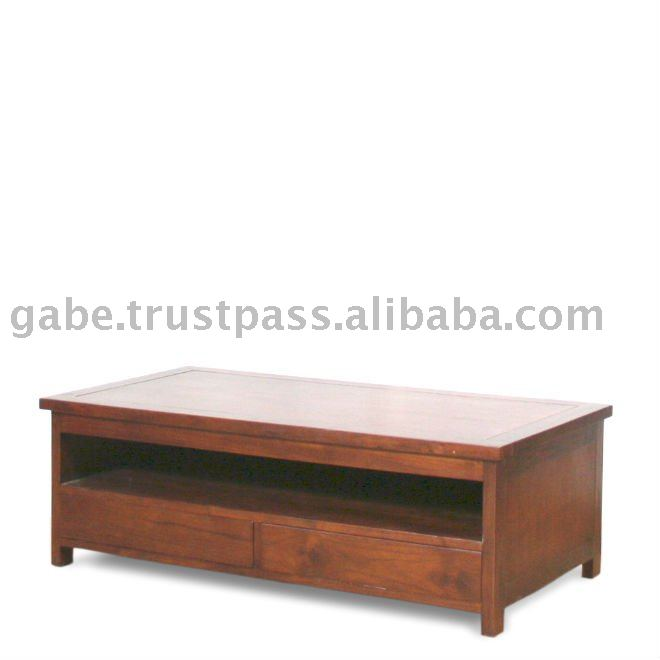 RENE RECT. WOODEN TOP WITH DRAWER COFFEE TABLE