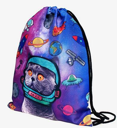 New Cute Space Cats Shoulder Bags 3D Galaxy Personality Drawstring Beam Port Backpack Women's Make Up Pouch