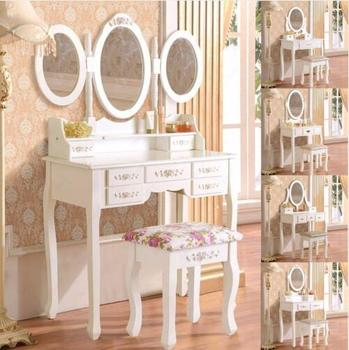 Bedroom furniture dressing table designs Solid European Mirror multi-function adjustable foldable table Make up dresser