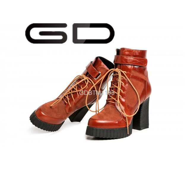 GD 2015 New Style Women Boots Mid-heel Square Heel Round Toe brown Leather Simple Warm half boots