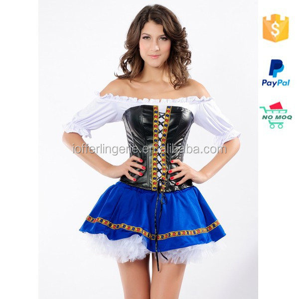 2015 Alibaba China Wholesale Cheap Maid Blue Black and White Party Costumes