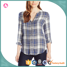 Jeans women's V neck plaid woven blouse, on the trend for fall or spring, ladies jeans top design