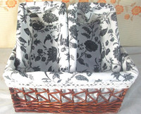 Fashionable new design willow rattan storage basket with colorful cloth lining