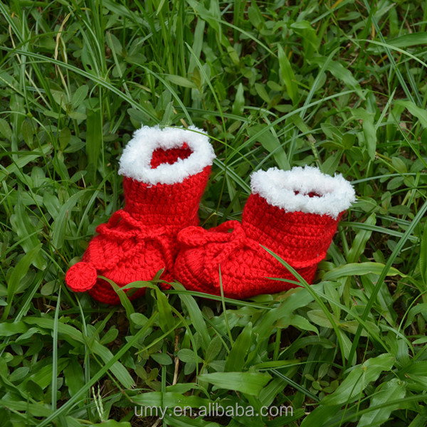 Thicken Soft Sole Christmas Ankle Crochet Baby Boots With Velvet