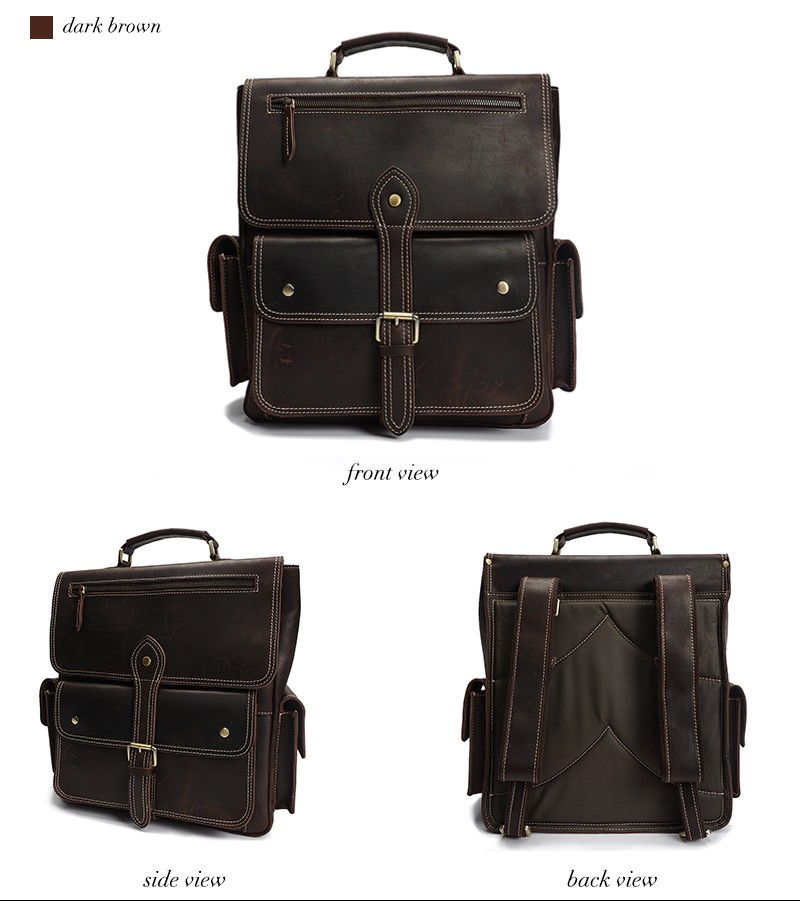 YD-8057 high quality vintage laptop genuine leather backpack for men