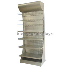 Single Sided Free Standing Multi-Layer Advertising Display Unit Metal Pegboard Supermarket Shelving