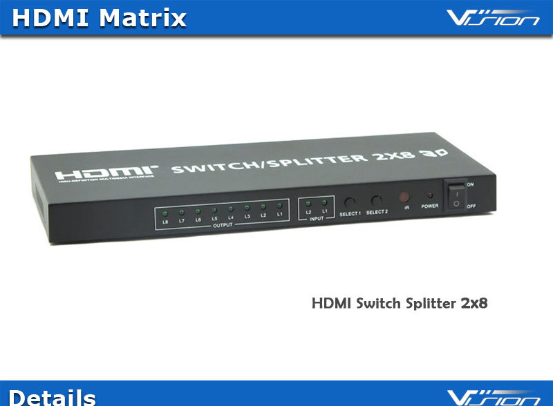 Vision high speed gold plated 1080p 2x8 HDMI switch splitter