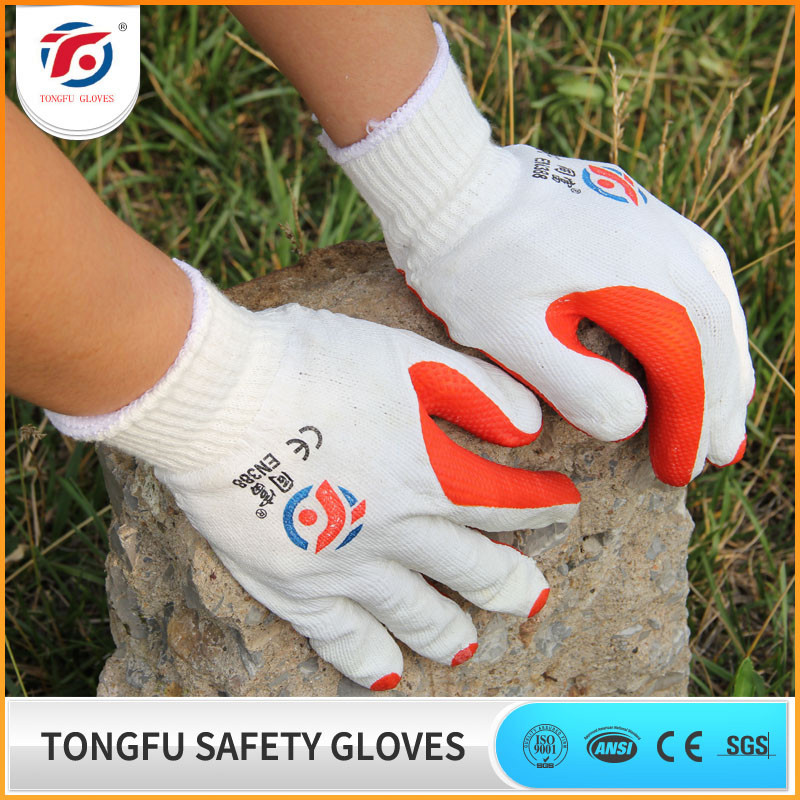 TONGFU Cheap 100% Cotton Liner Laminated Latex Rubber Construction Safety Glove