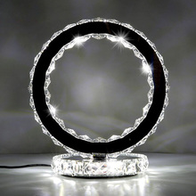 LED Circle Crystal Shining Table Lamp Fancy Ring Table Light Round Desk Lighting For Bedroom