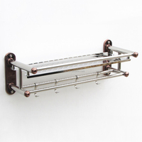 Stainless steel bathroom accessory towel shelf with hooks
