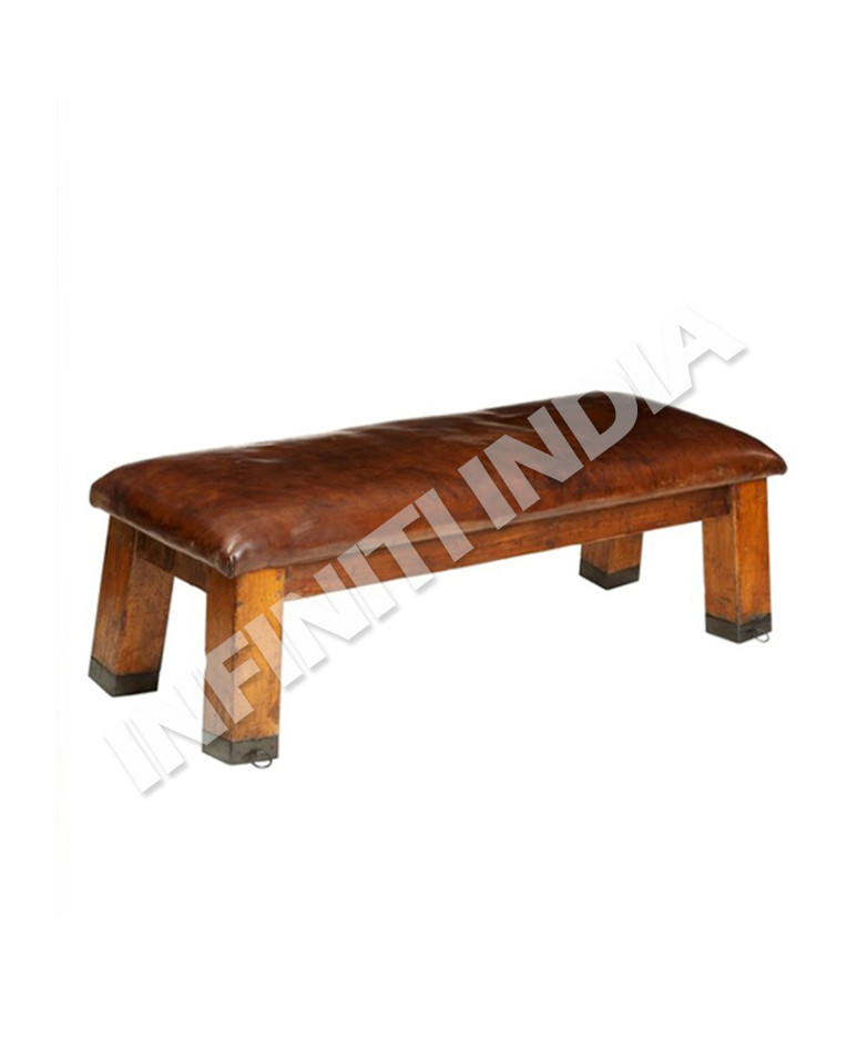 Industrial vintage bench/ wooden leather bench/ Industrial furniture
