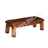 Industrial Vintage Bench Wooden Leather Bench
