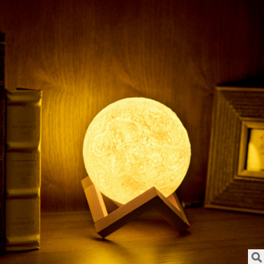 13CM/18CM 3D Rechargeable Moon Light <strong>Lamp</strong> 3 Color Changeable Bedroom Bookcase Decor Creative gift for Christmas