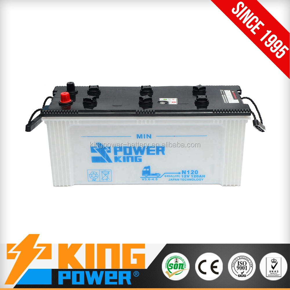 12V120AH Dry Charged Truck battery N120