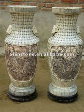 bone carving antique dragon vase