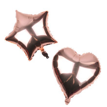 New design 18 inch rose gold color star/heart shaped foil balloon for valentine's Day/wedding party decoration balloon