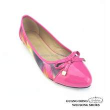 Soft leather flat casual dance shoes bowknot model with strip women shoes