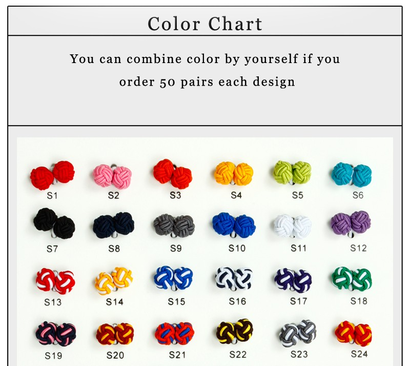 New fashion color can be mixed handmade barrel silk knot cufflink