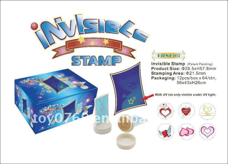 Invisible Stamp with UV ink only visible under UV light