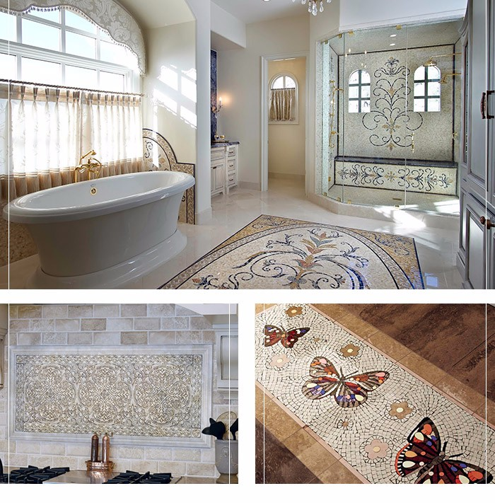 custom beautiful butterfly marble flooring stone mosaic tile pattern