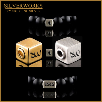 925 Sterling Silver Personalized Custom Logo Cube Beads Charm Fit Mens Bracelet