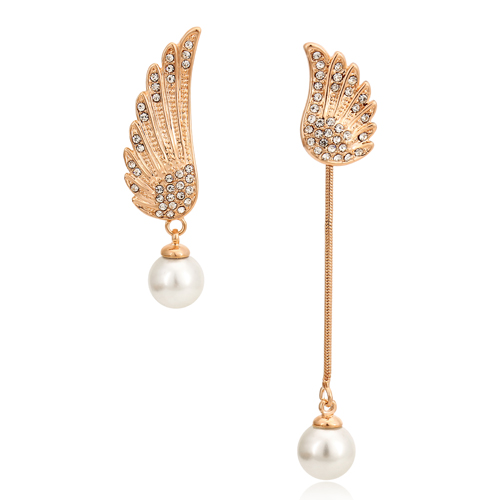 Wholesale fashion jewelry freedom asymmetric wings earring pearl and crystal pendant earrings