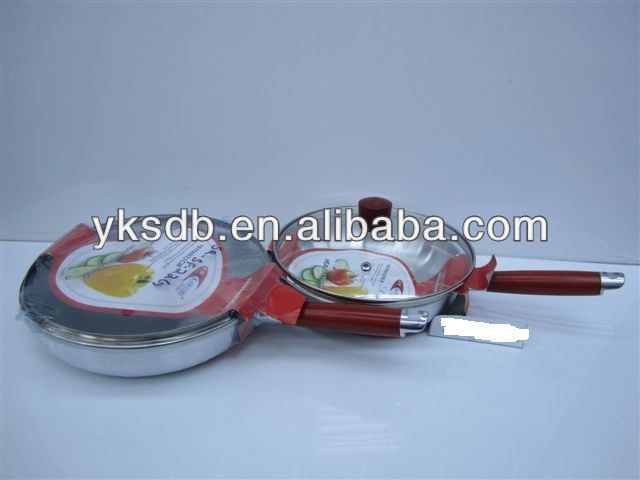 Non stick spray frypan with glass cooking pots