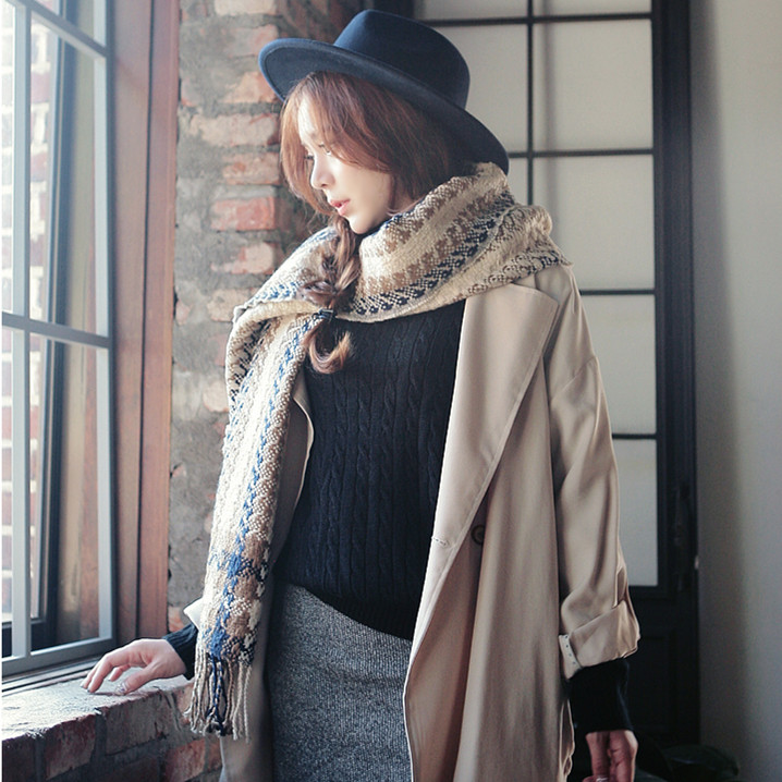 Imitation cashmere wool scarves winter ladies autumn and winter to increase the new thickening warm shawl