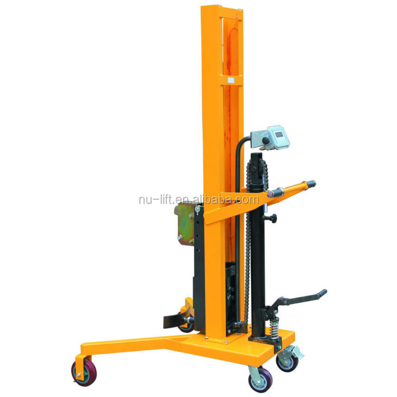 Hydraulic Lift Scale : Drum hydraulic truck with weight scale kg capacity
