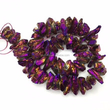 M60423281 Fashion Electroplated Purple Crystal Point Quartz Loose Beads in 15.5 Inch For Necklace