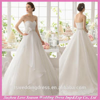 WD9194 Professional supplier wholesales white ruched organza chapel train big discount beaded sash wedding dress