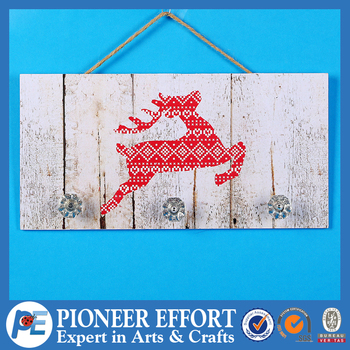 Wooden Hanging Wall Plaque with red deer