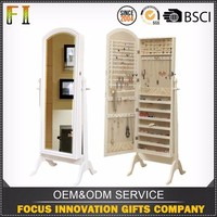 Unique Design multi-function wood jewelry cabinet with mirror and standing