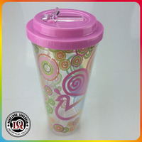 16oz 20oz 22oz double wall plastic kids cup with straw