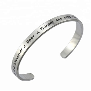 stainless steel Engraved personalized words bangle,Custom cuff message Bracelet