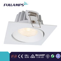 high lumens output 10W led square downlight white finish, for commercial project. SHARP COB, CRI>90