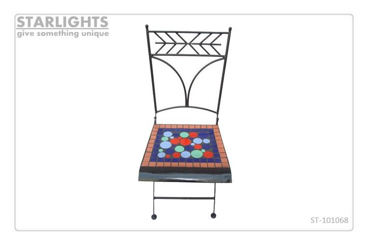easy folding ceramic tile Garden Mosaic Chair