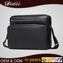 Top quality genuine grain leather men messenger bag for ipad