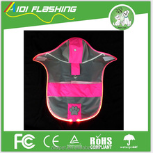 2017 Fashion Pet Dog RainCoat Jacket Clothes Puppy Raincoats Transparent Waterproof Rainsuit with Led Light for Night Safety